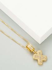 Simple Casual Women Zircon Letter Necklace