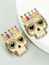 Rhinestone Skull Halloween Earrings Women