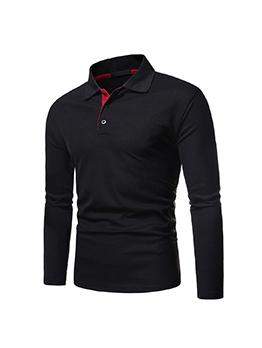 Casual Long Sleeve Polo Shirts Men