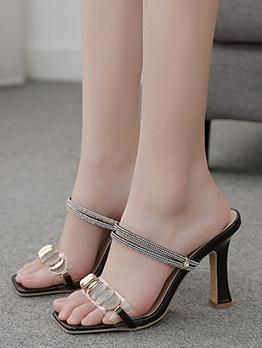 Euro Square Toe Rhinestone Decor Heel Sandal