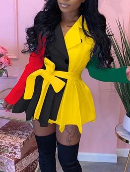 Colorblock Tie Wrap Blazer Dress For Women