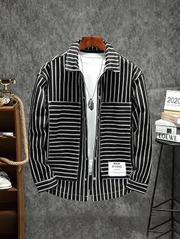Fashion Striped Loose Winter Coat Men