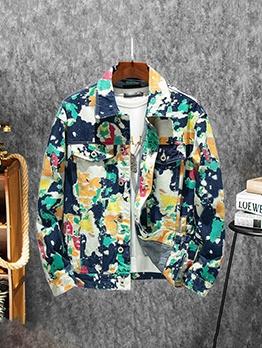 Colorful Print Denim Jacket For Men