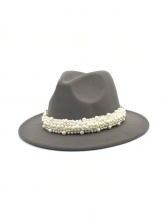 British Style Faux-Pearl Fedora Hats