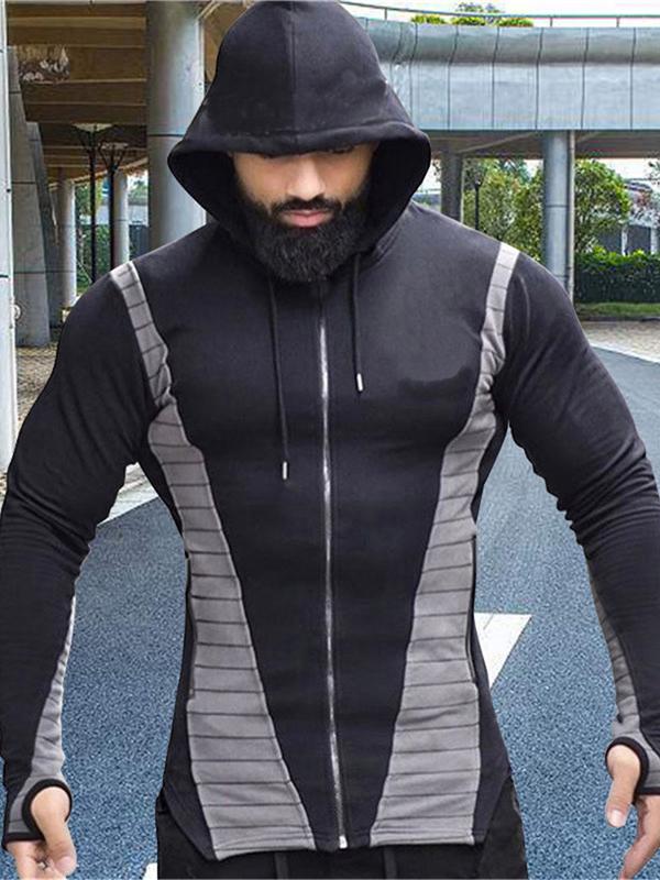 Sporty Color Block Hooded Male Outwear