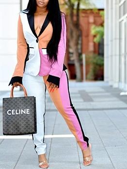 Fashion Color Block Lapel Two Piece Outfits