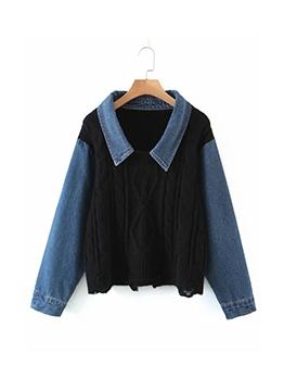 Chic Denim Patchwork Pullover Sweater