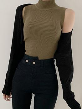 High Neck Knitting Vest With Short Coat For Women
