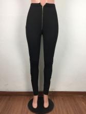 Solid Slit Zipper Women Flare Pants