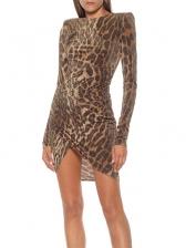 Glitter Leopard Print Boutique Long Sleeve Dress