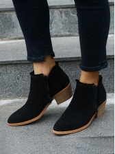 Euro Chunky-Heel Women Ankle Boots