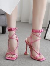 Goblet Heel Square Toe Lace Up Sandals