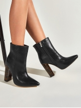 Euro Pointed Toe Chunky Heel Womens Boots