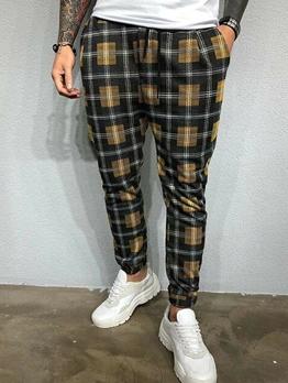 Contrast Color Mens Casual Plaid Pants