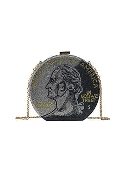 Dollar Print Rhinestone Women Round Bag