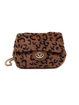 Twist Hasp Furry Mini Bag With Chain