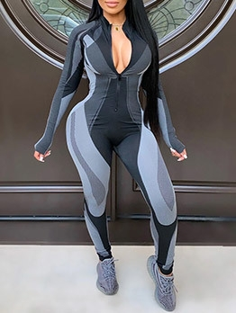 Sexy Color Block Long Sleeve Yoga Jumpsuit