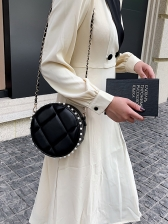 Faux Pearl Design Round Bag With Chain