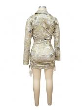 Euro Long Sleeve Crop Top And Skirt Set