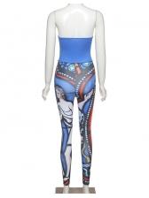 Trendy Printing Strapless Women Skinny Jumpsuit