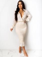 Stylish Patchwork Solid Long Sleeve Midi Dress
