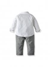 Fashion Plaid Overalls Boys Two Piece Sets Clothing