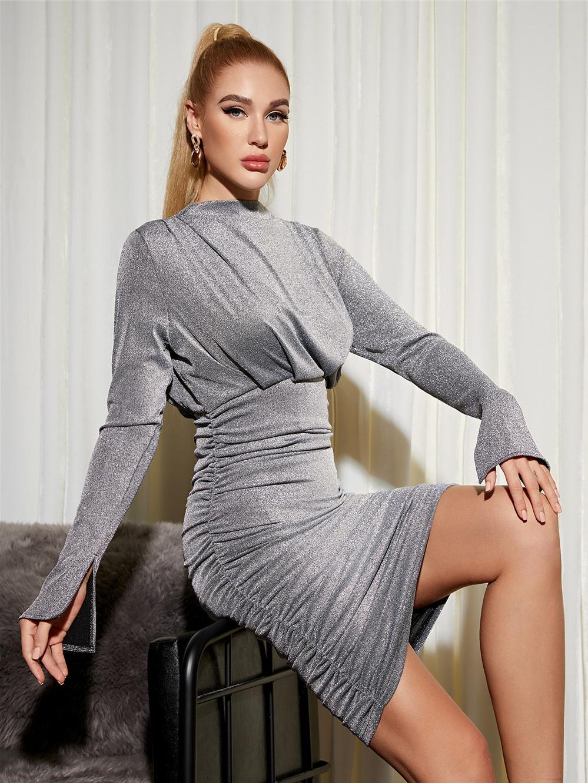 Elegant Solid Ruched Long Sleeve Dress