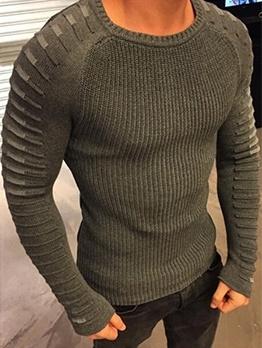 Outdoor Contrast Color Crew Neck Sweater