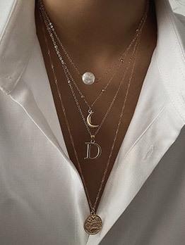 Faux Pearl Crescent Letter Pendant Chain Necklace