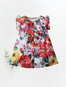 Single-Breasted Flower Print Summer Girls Dress