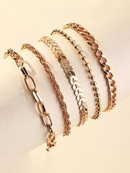 Simple Three Pieces Set Ladies Bracelet