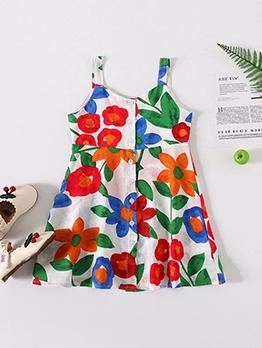 Flower Print Summer A-Line Dress For Girls