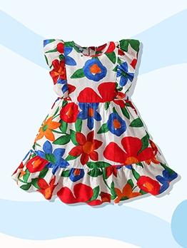Crew Neck Flower Print Sleeveless Girls Dress