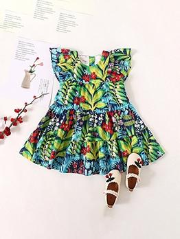 Plant Print Large Hem Summer Girls Dress