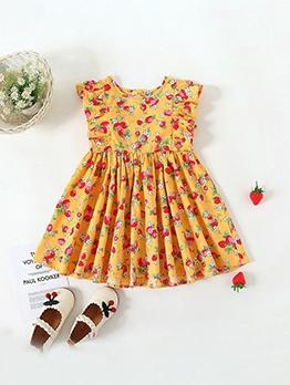 Strawberry Print Yellow Sleeveless A-Line Dress