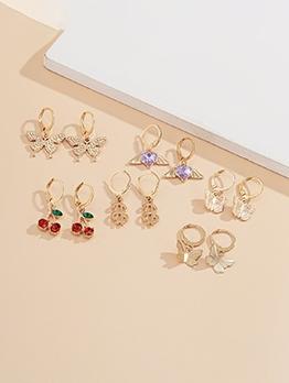 Butterfly Cherry Cute Earrings Combination Set