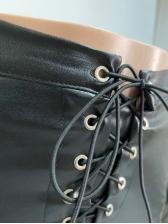 Chic Leather Patchwork 2 Piece Pants Set