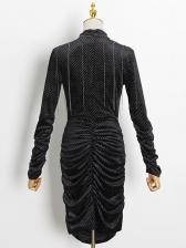 Boutique Mock Neck Ruched Long Sleeve Dress