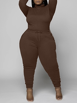 Casual Solid Plus Size Two Piece Sets