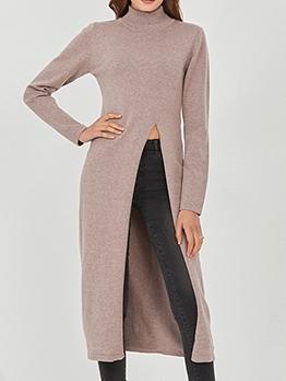Solid High Split Mock Neck Long Sweater