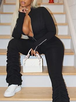 Sexy Solid Zipper Long Sleeve Jumpsuit Women