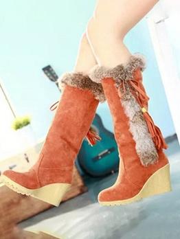 Faux Fur Patchwork Wedge Snow Boots