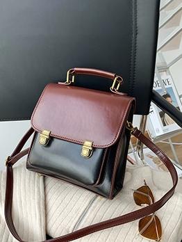 British Style Contrast Color PU Shoulder Bags