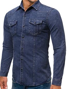 Easy Matching Bust Pockets Denim Shirt
