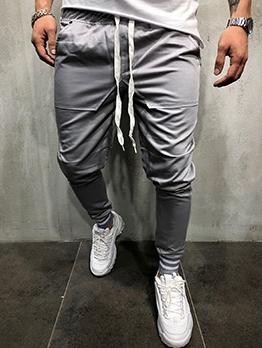 Pockets Drawstring Solid Long Pants For Men