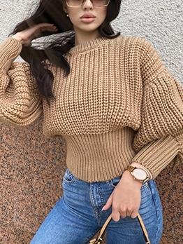 Casual Crew Neck Lantern Sleeve Pullover Sweater