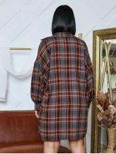 New Arrival Lantern Sleeve Plaid Long Coat