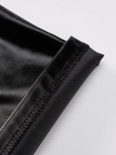 Euro Style High Waist Solid Stacked Leather Pants