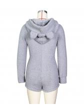 Thickened Solid Sleepwear Romper For Women