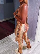Printed Halter Bikini Top With High Waisted Pants